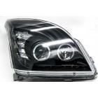 Комплект черных диодных передних фар на Toyota Land Cruiser FJ120 Prado c ангельскими глазками